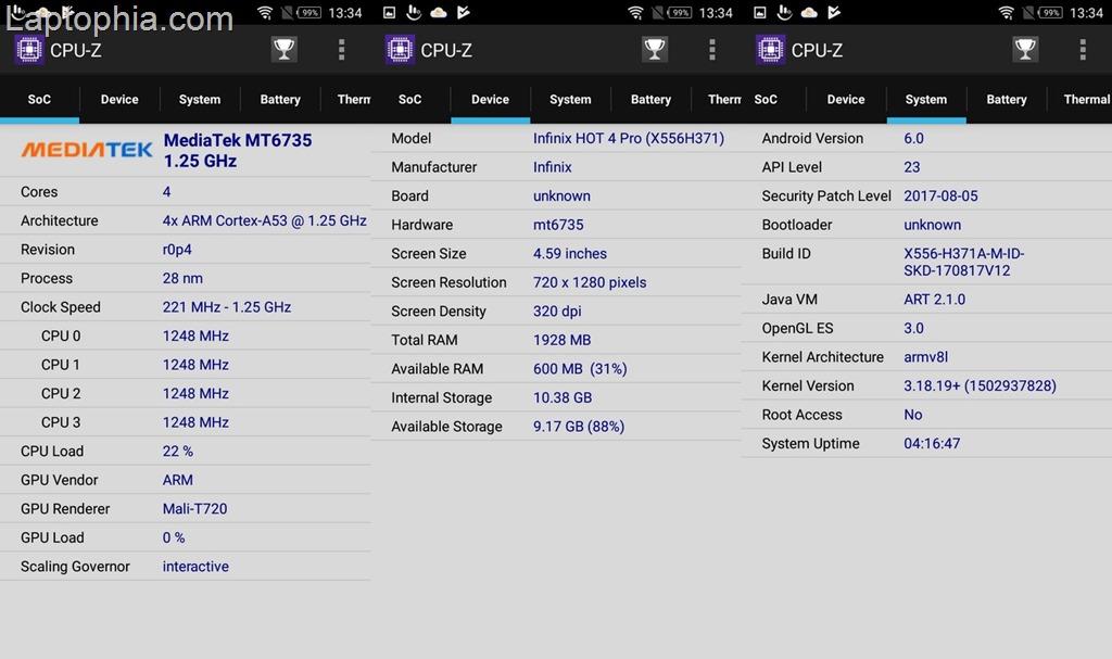 CPU-Z Infinix Hot 4 Pro X556