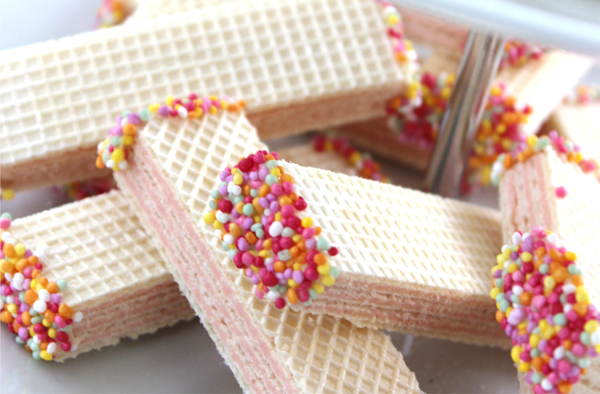 Chocolate Dipped Wafers: Last Minute Sprinkles Party Part Four by Eliza Ellis