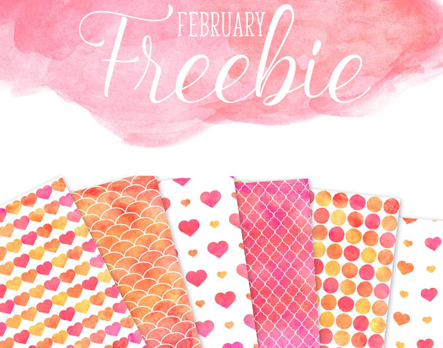 Free Valentine's Day Watercolor Patterns - Yellow, red and PinkDigital Papers from La Boutique dei Colori