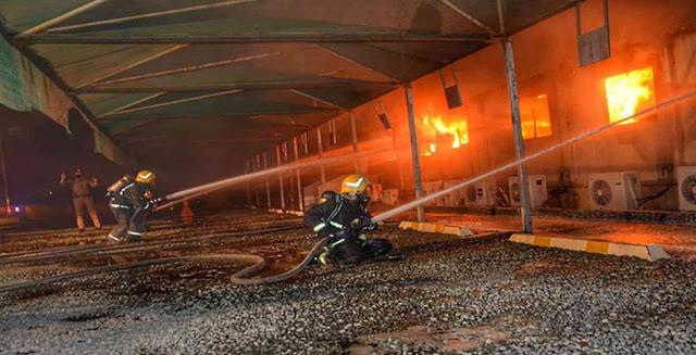 حريق السعودية اليوم،حريق بساحة قطار الحرمين،حريق فى محطة القطار،قطار الحرمين