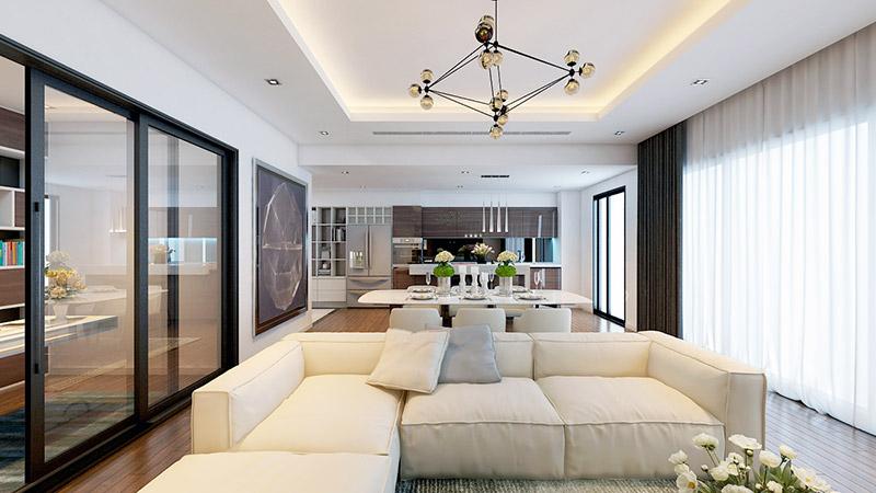 Nội thất phòng khách căn hộ ICID Complex Lê Trọng Tấn