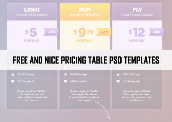 46 Best Free PSD Pricing Table Templates
