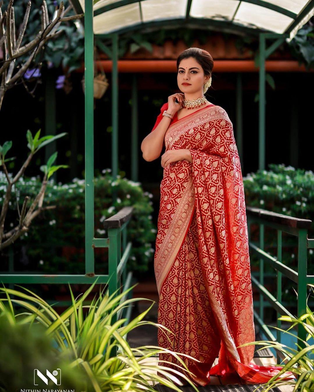 Actress Anusree Traditional Silk Saree Photoshoot