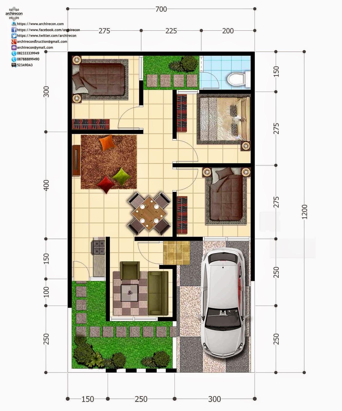 Hasil Jasa Desain Rumah Minimalis - Perumahan Green Land Villa - Denah Type 55