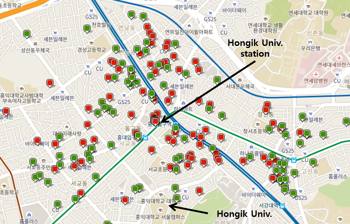 fig 2 accommodations green and red dots near hongik univ station