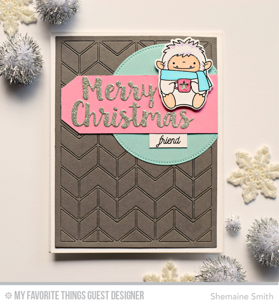 Handmade card from Shemaine Smith featuring Birdie Brown Beast Friends and Lisa Johnson Designs Spring Wreath stamp sets and Merry Christmas, Split Chevron Cover-Up, and Pierced Circle STAX Die-namics #mftstamps