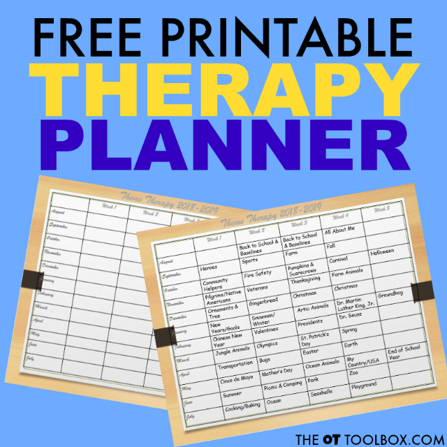 This free occupational therapy activity planner is perfect for the school based OT and planning occupational therapy themes and sessions.