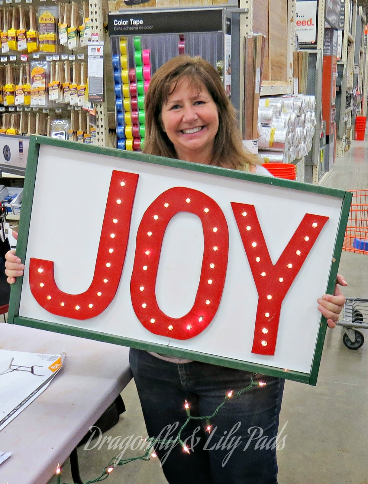 Finished Joy Marquee Sign, Karen Marie Kedzuch, Home Depot Her It Yourself Workshop