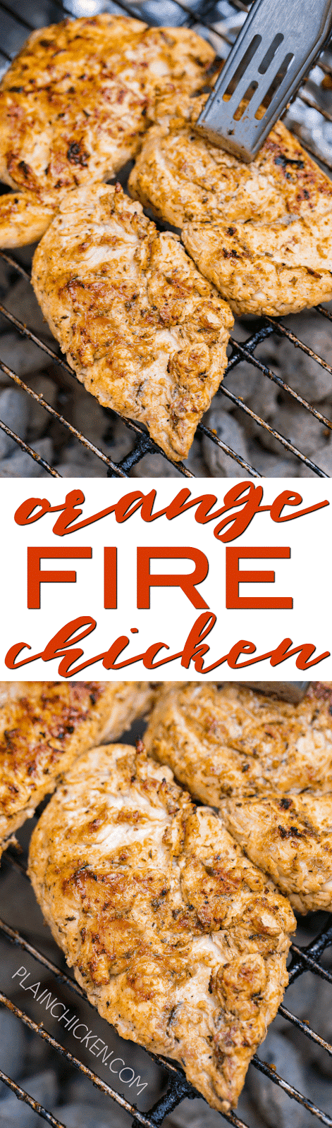 Orange Fire Chicken - seriously THE BEST! Chicken marinated overnight in vegetable oil, orange juice, salt, paprika, oregano, onion powder, thyme and garlic. This chicken is so tender and juicy. Tastes great leftover too!! We always double the recipe! Everyone asks for the recipe! SO YUM!