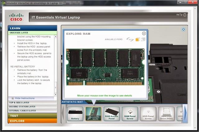 Simulador interactivo de ensamblaje de Laptop-3D