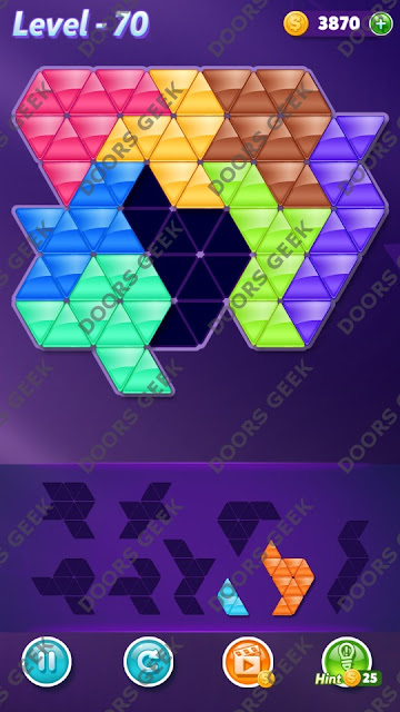 Block! Triangle Puzzle 8 Mania Level 70 Solution, Cheats, Walkthrough for Android, iPhone, iPad and iPod