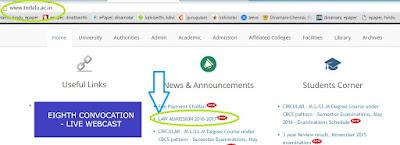 tamilnadu llb admission 2016 notification