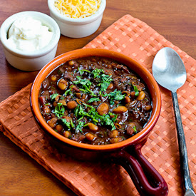 Turkey and White Bean Chili with Chocolate found on KalynsKitchen.com