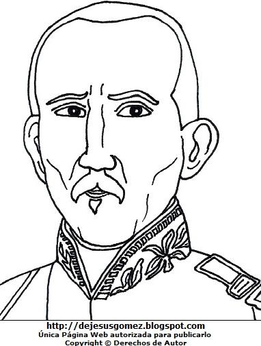 Dibujo del rostro de Juan José Flores para colorear o pintar. Ilustración de Juan José Flores de Jesus Gómez