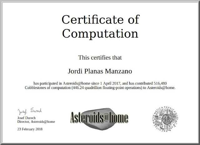 Certificate of computation: Asteroids@home