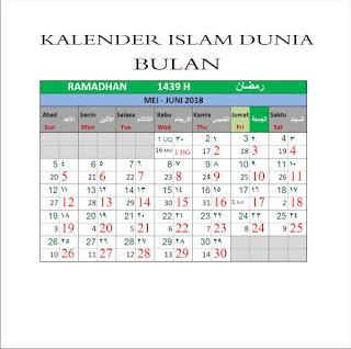 Kalender Islam Bersatu Bulan Ramadhan 1439 H 17 Mei 2018