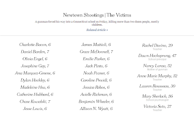 Newton shooting victims via the front page of the NYT