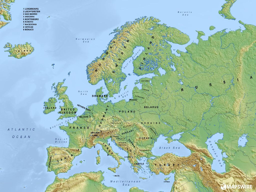 physical map for europe