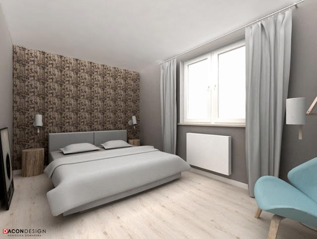 Dacon-Design-architekt-sypialnia-tikkurila-duett-szafa-fotel-lampa-lozko-kinkiet-tapeta