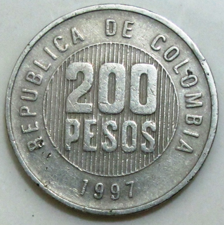 Obverse Republica De Colombia 200 Pesos 1997 Edge Motivo Baya Reverse Artwork Design