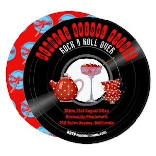 rockabilly bridal shower invitation retro 1950s vintage vinyl record