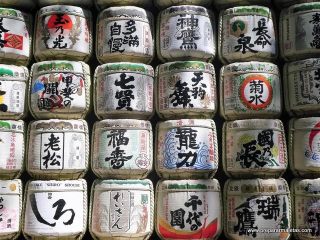 barriles de sake en Tokio