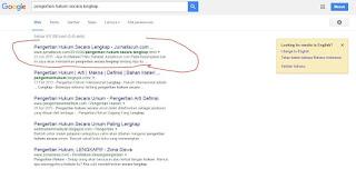 Salah Satu Judul Postingan Page One Google
