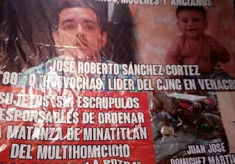 """Aparece narcomensaje acusando a """"El 80"""","""" El Lagarto"""" y """"El Pelón"""" del CJNG de la masacre en Minatitlán."""