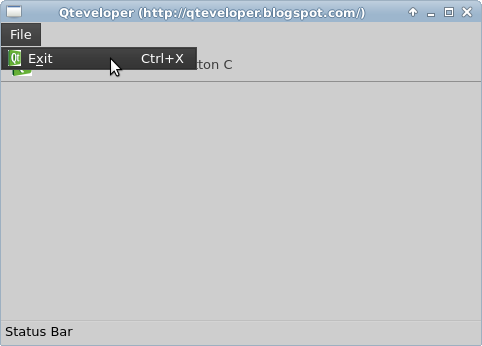 Qteveloper: QtQuick Controls: Example to apply Action to