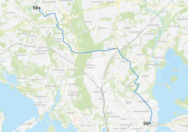 Kuvassa linjan 56 reitti, mikä säilyy entisellään.