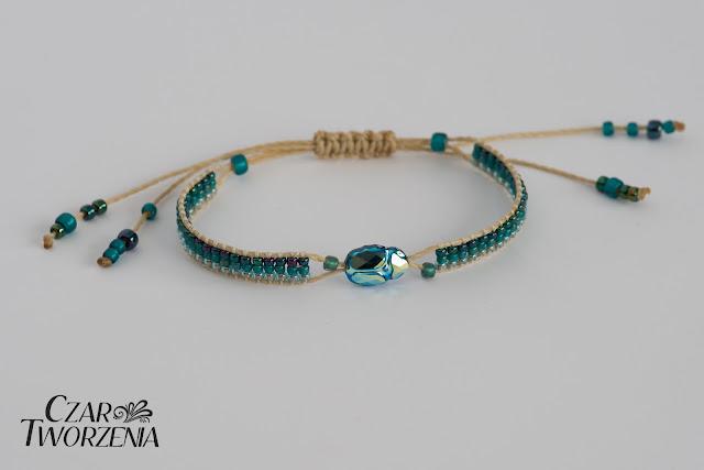Scarab bead emerald AB lekka koralikowa bransletka