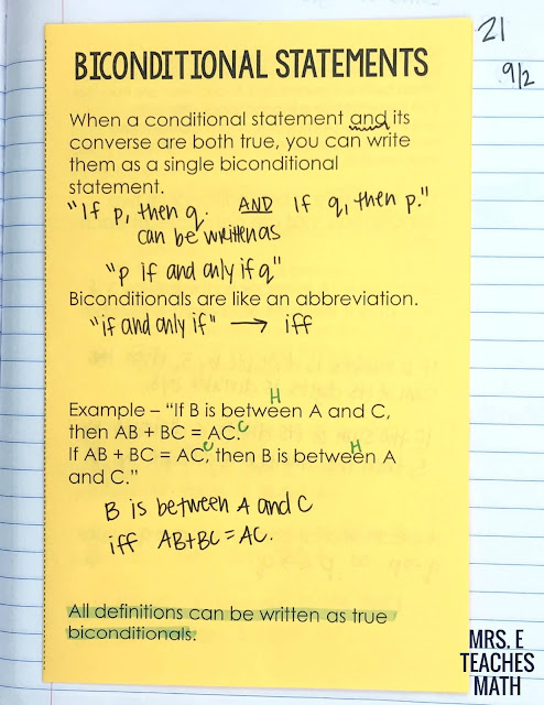 biconditional statements foldable for interactive notebooks in geometry