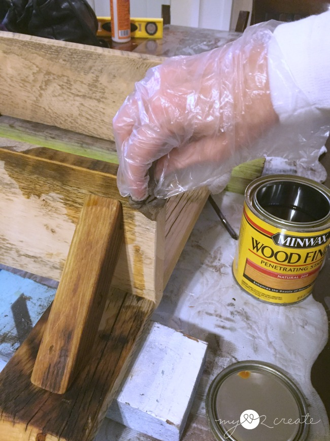 staining wood shelf with natural stain