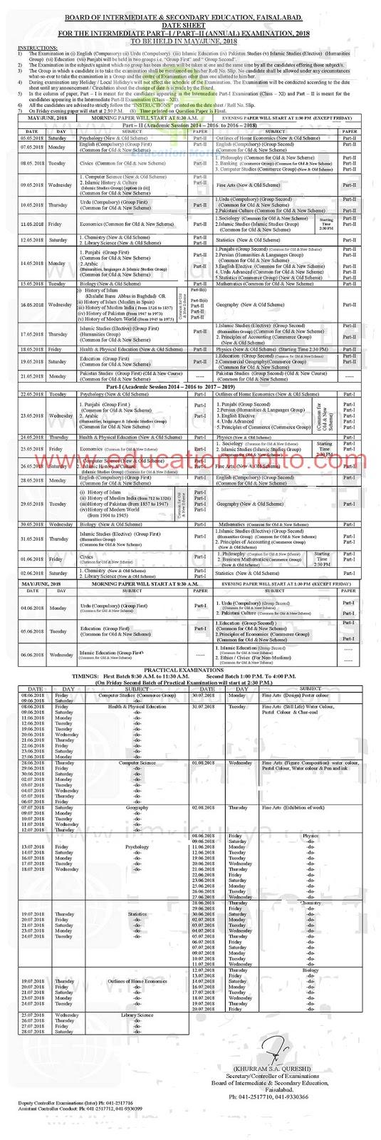 BISE, Faisalabad, Punjab, Pakistan, Date Sheet, Intermediate, HSSC, FA, FSc, Download Part 1, 2 BISE Faisalabad Board Inter Date Sheet, Download FA FSc Date Sheet 2018,