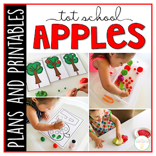 Tot School & Toddler Curriculum Made Easy! This Tot School: Apples resource has everything you need for a week packed full of apple themed fun and learning. Weekly plans, materials, printables and goals for pre-academic, fine motor, and gross motor skills practice, along with snack ideas, and sensory bin plans are all included in this download!
