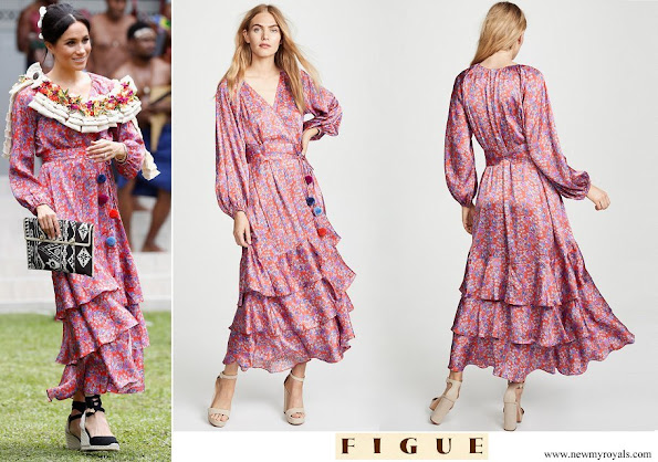 Meghan Markle wore Figue Frederica Printed Ruffle Dress