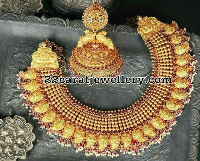 Mango Necklace with Jhumkas