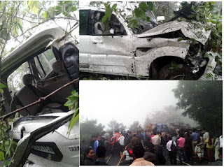 President Pranab Mukherjee's convoy vehicle met accident near Gorabari Sonada in Darjeeling