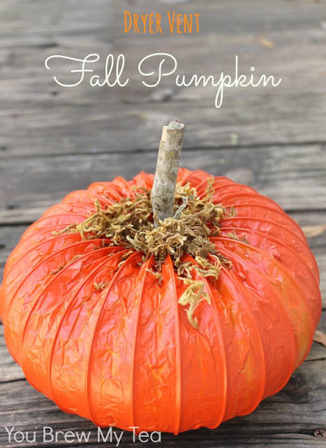 Pumpkin made from a dryer vent.  Easy & fun fall craft!