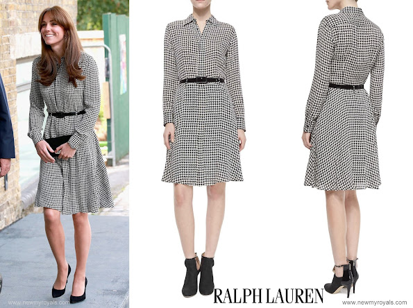 Kate Middleton wore Ralph Lauren Silk Austin Shirtdress and black Stuart Weitzman pumps, Mulberry Bayswater black suede clutch and Annoushka pearls earrings