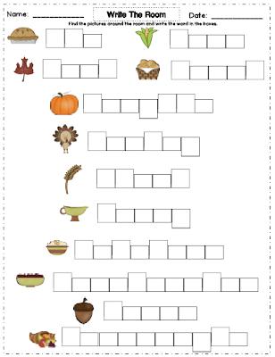 Kindergarten November Worksheets
