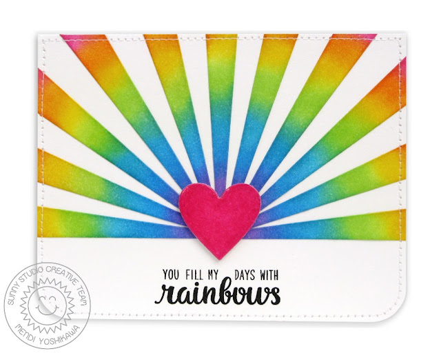 Sunny Studio Stamps: Color Me Happy & Sun Ray Dies Rainbow Card by Mendi Yoshikawa