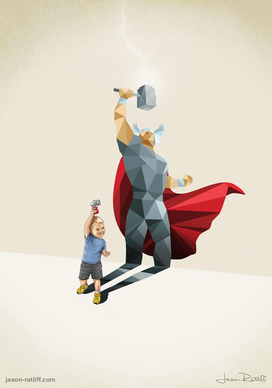 09-Thor-Chris-Hemsworth-Jason-Ratliff-Comic-Book-Heroes-in-Super-Shadows-Illustrations-www-designstack-co