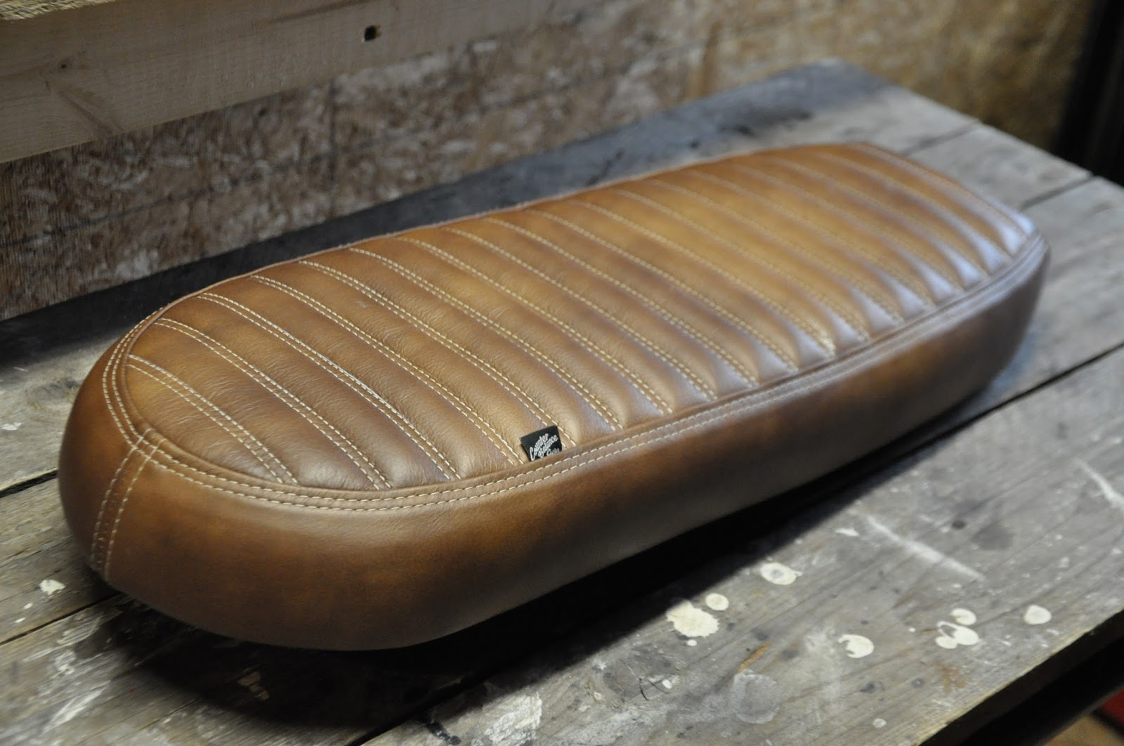 Did A Custom Xs Seat With Wide Pleats And Gray Stitching Also Got Supplied Triumph Pan Covered In Some Brown Coja Pecan Distressed Leather