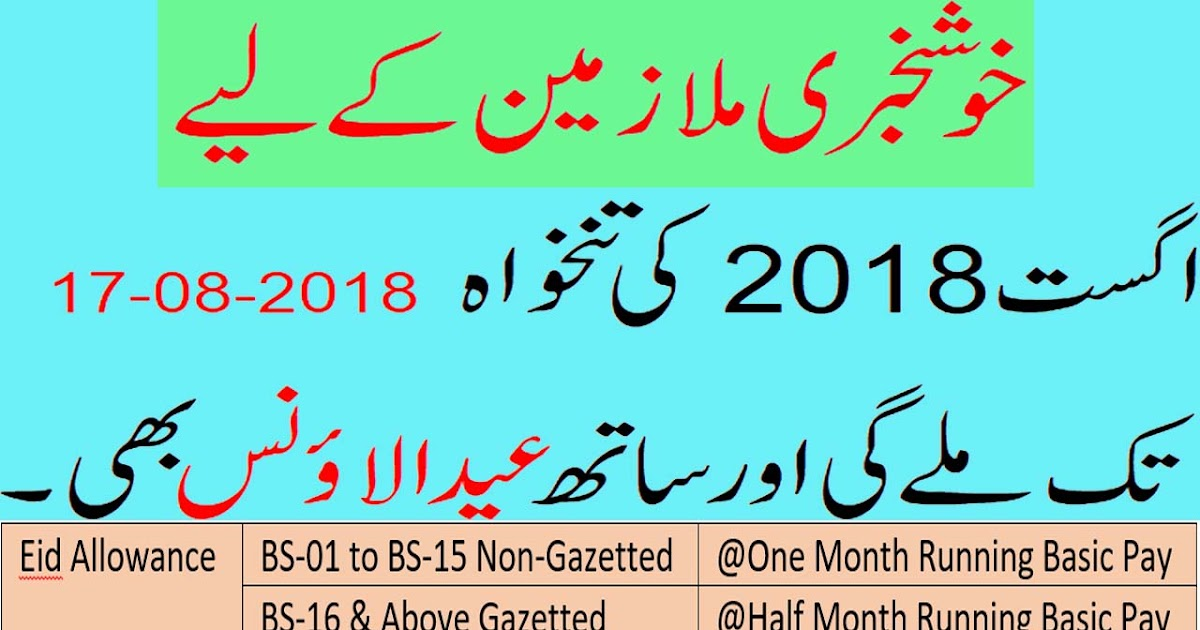 Basic Pay 2018 Eid Allowance & Advance Salary for CDA Muslim