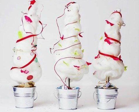 Albero Di Natale Alluncinetto Semplicissimo.Bellissimi Alberi Di Natale Con Rami Secchi E Ovatta Donneinpink