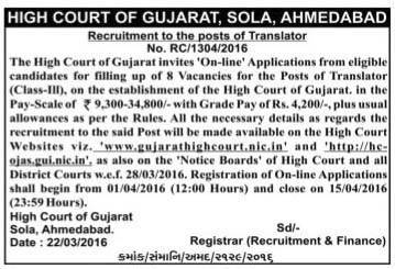 High Court of Gujarat, Sola, Ahmedabad Translator Recruitment 2016