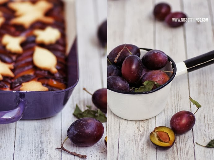 Pflaumen Käsekuchen mit Herbstblätter Cookie Streuseln