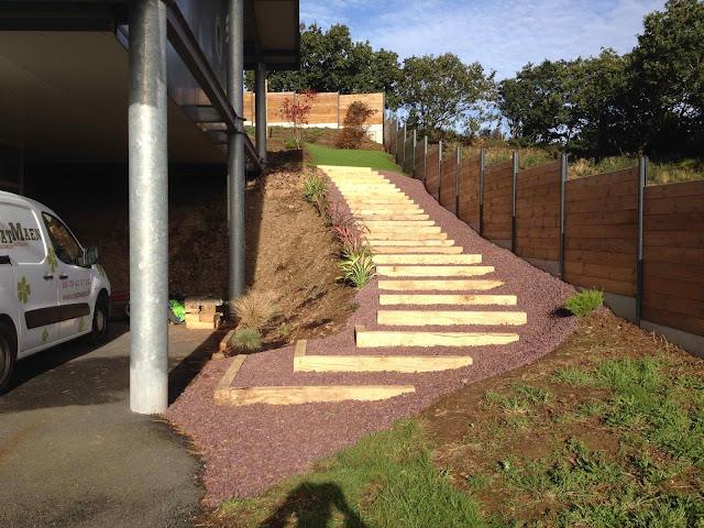 Escalier poutre chêne Coat Maen