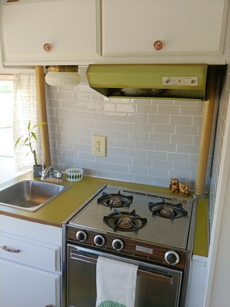 Rv Kitchen Backsplash With Smart Tiles Little Vintage Cottage